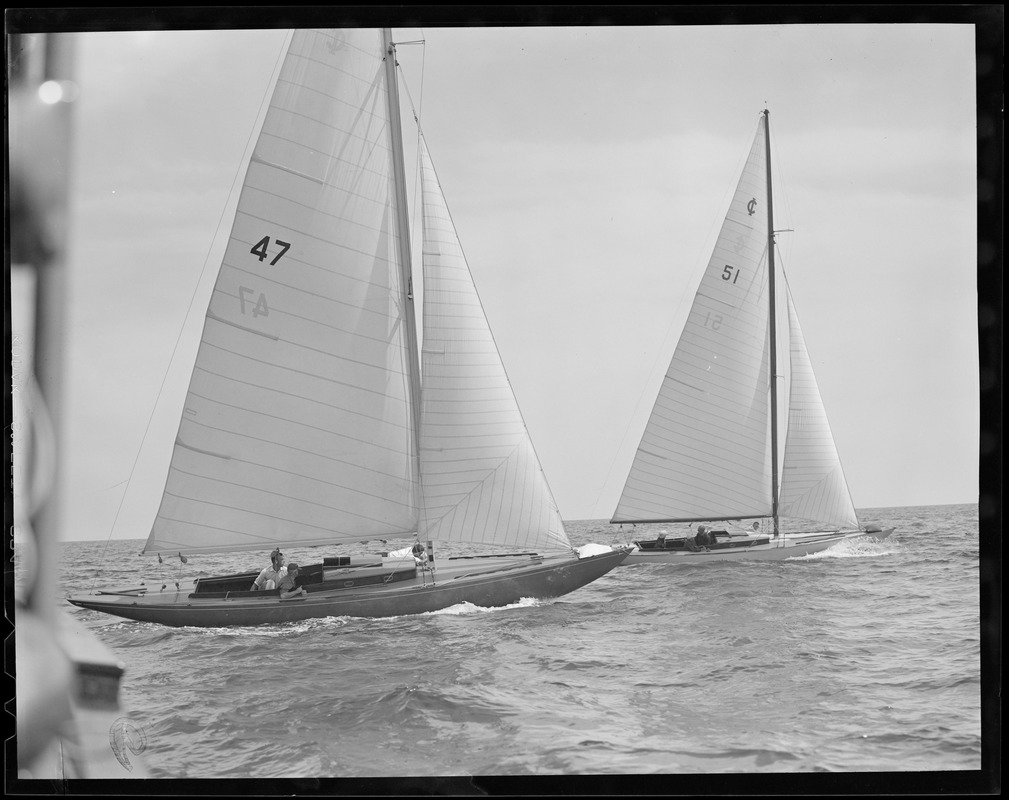 "Yachting at Marblehead: Hood's ""Princess"" no. 47, Wood's ""Saga,"" no. 51"