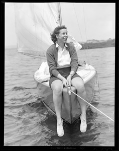Sailing woman on the bow