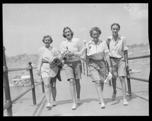 Yachting: Race week picture Marblehead, MA (4 women walking)