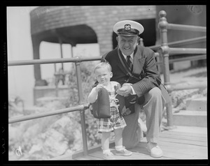 Yachting: Race week pictures Marblehead, MA (elderly man and young boy)