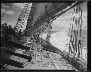 "On the deck of the ""Bluenose"" during fishermen's race"