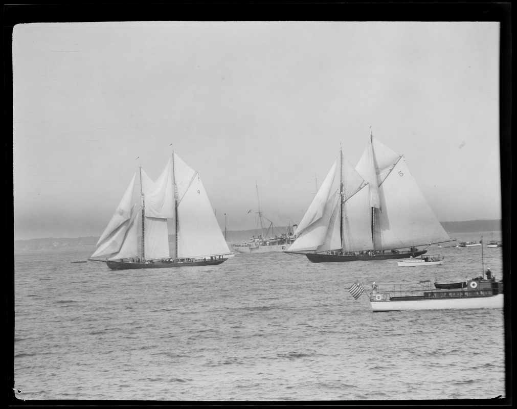 Boats no. 4 and no. 5 in fisherman's race off Gloucester