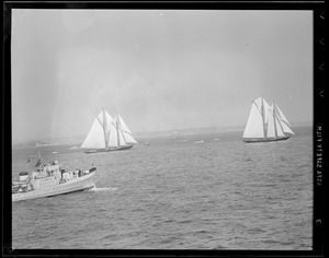 Fishing schooner races off Gloucester