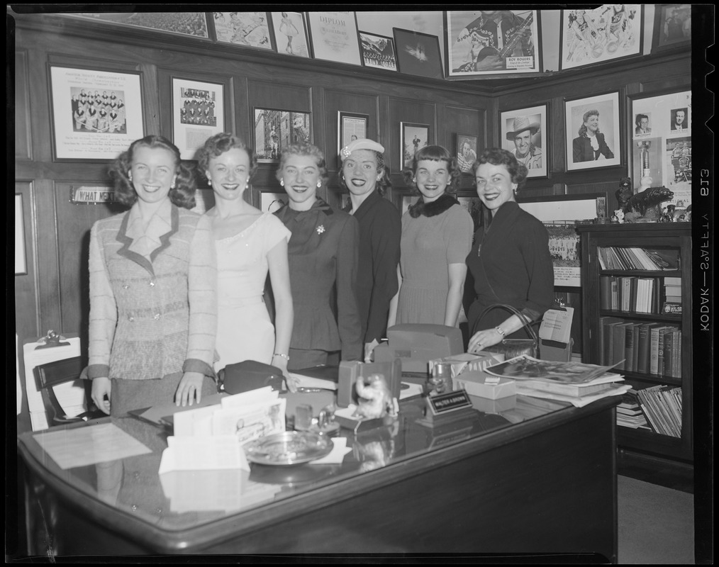 Ice Follies of 1954 visit the Garden Club, L-R: Irene Maguire, Betty Schallow, Patty Hall, Florence Rae, Barbara Trostorff and Sonja Seity