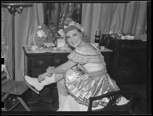 Sonja Henie, backstage at the Boston Garden