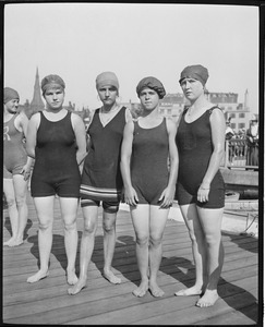 Competitors at swim competition, Charles River