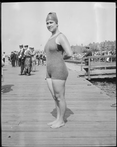 Contestant at swim competition, Charles River
