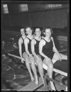 Radcliffe Mermaids: Elaine Fraser, Martha Field, Sue Holis and Peggy Tavey after beating Pembroke and Wheaton in 80 Yard relay