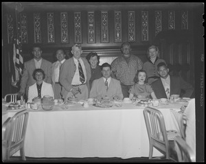 Rocky Marciano and wrestlers Yukon Eric and Don Eagle, Hotel Touraine