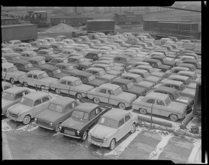 Foreign cars unloaded at Commonwealth Pier - South Boston