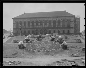 WWII Era: American legion flower design installed in Copley Square in Boston Globe victory Garden