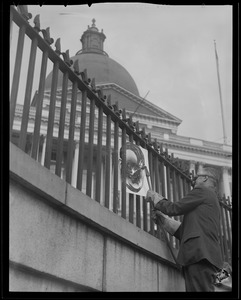 Fence at State House, Governor starts October 5, 1942 (& other fences around city)