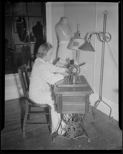 Sewing room at the Franklin Square House, WWII