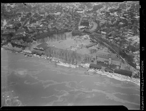 Aerial photos of flood damage from ice-jammed river