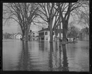 Flooded Fruit Street, possibly Northampton, New England flood