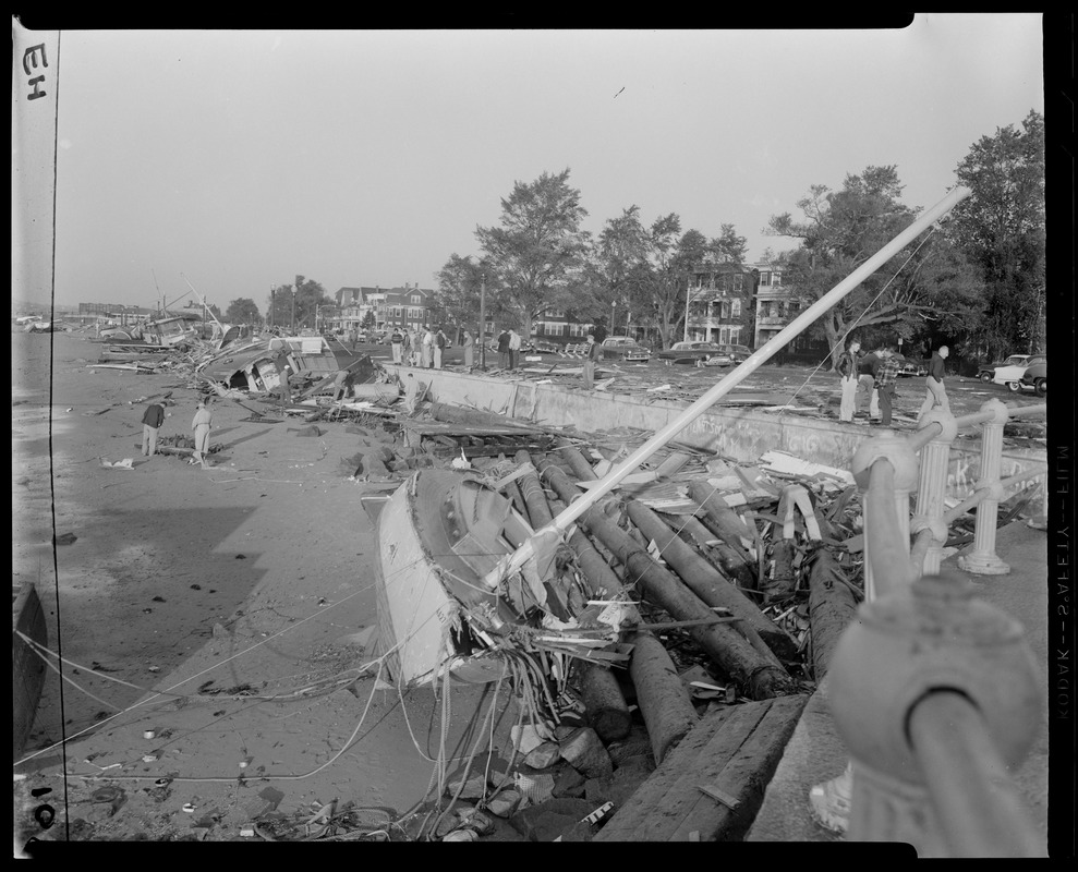 Boats damaged in Marblehead Harbor by Hurricane Carol