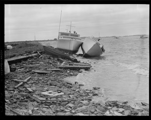 Boats beached by hurricane