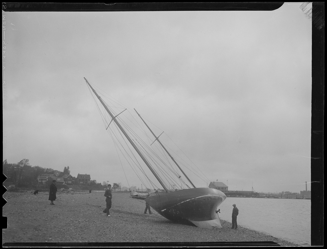 Sailboat blown ashore in storm
