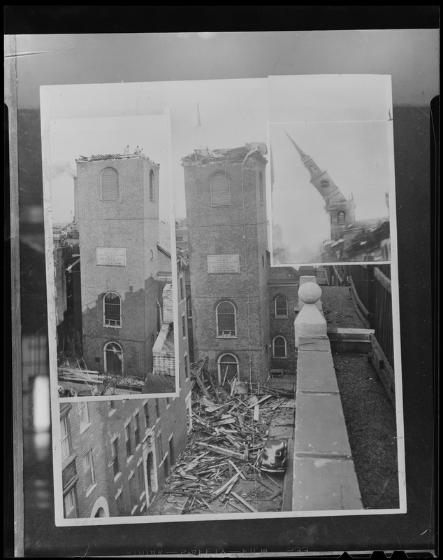 Montage of Old North Church spire toppled by Hurricane Carol