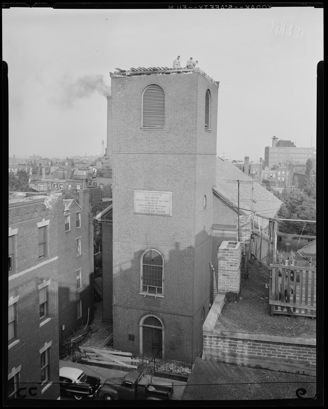 Old North Church steeple knocked off by Hurricane Carol