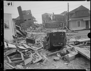 Car overturned and buildings jumbled, Hurricane of 38