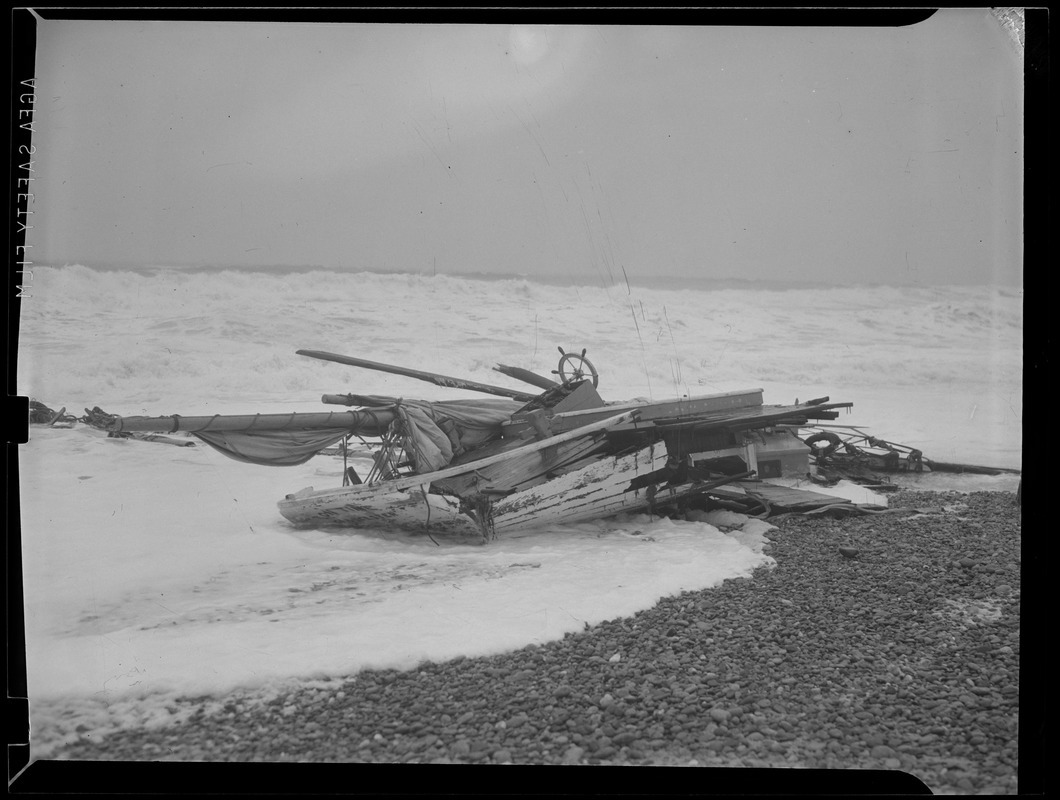 Boat smashed against beach, Hurricane of 38