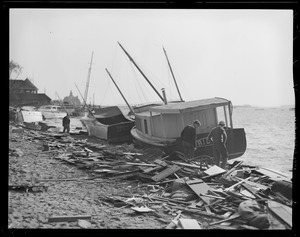 Boats washed ashore, Hurricane of 38