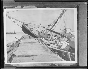 Boat on breakwater in Block Island, Hurricane of 38