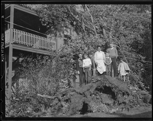 Group stands on fallen tree, Hurricane of 38