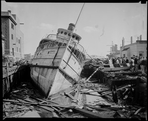 Steamer Monhegan sits at pier in Providence, Hurricane of 38