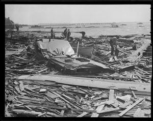 Debris on shore, Hurricane of 38