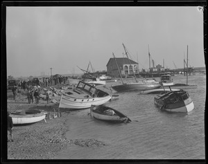 Boats jumbled up at Savin Hill after hurricane