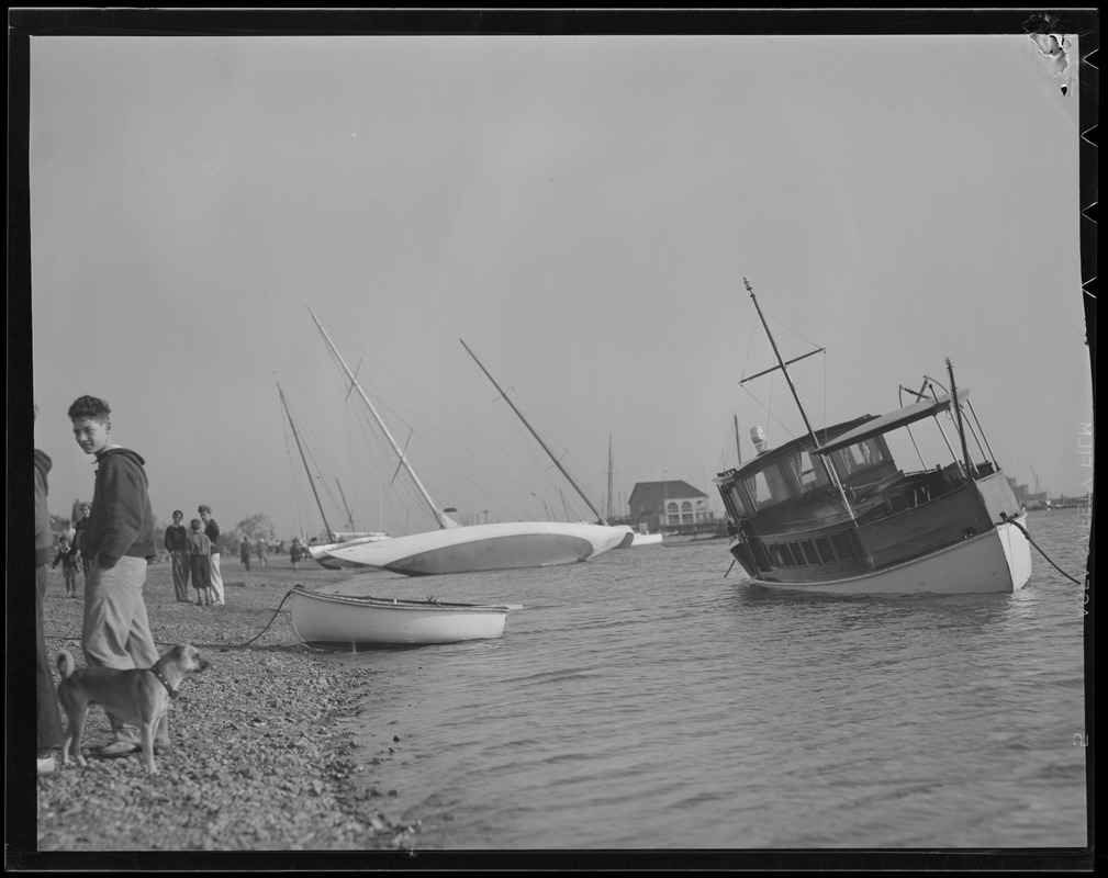 Yachts pushed ashore, Savin Hill Yacht Club, Dorchester, Hurricane of 38