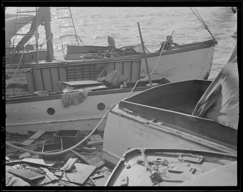 Boats driven up on shore, Hurricane of 38