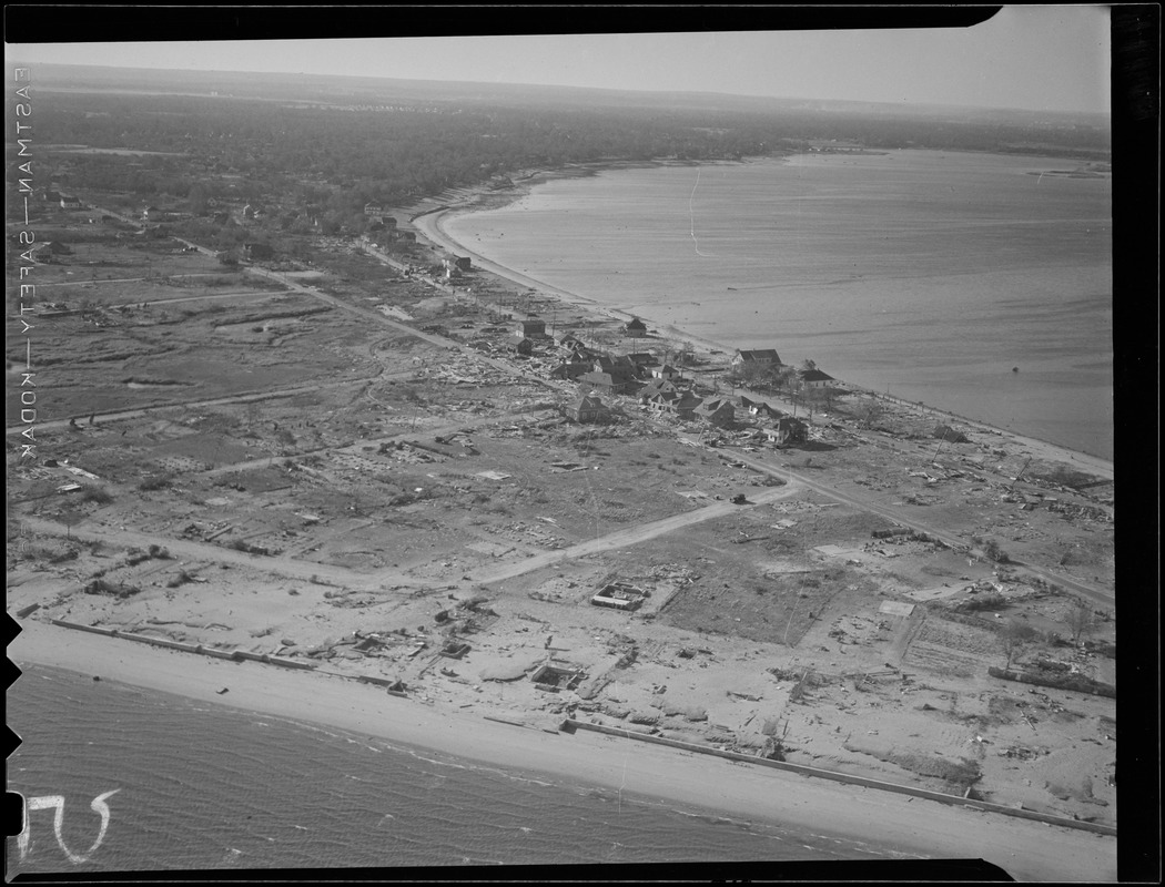 Aerial photos of coastline, Hurricane of 38
