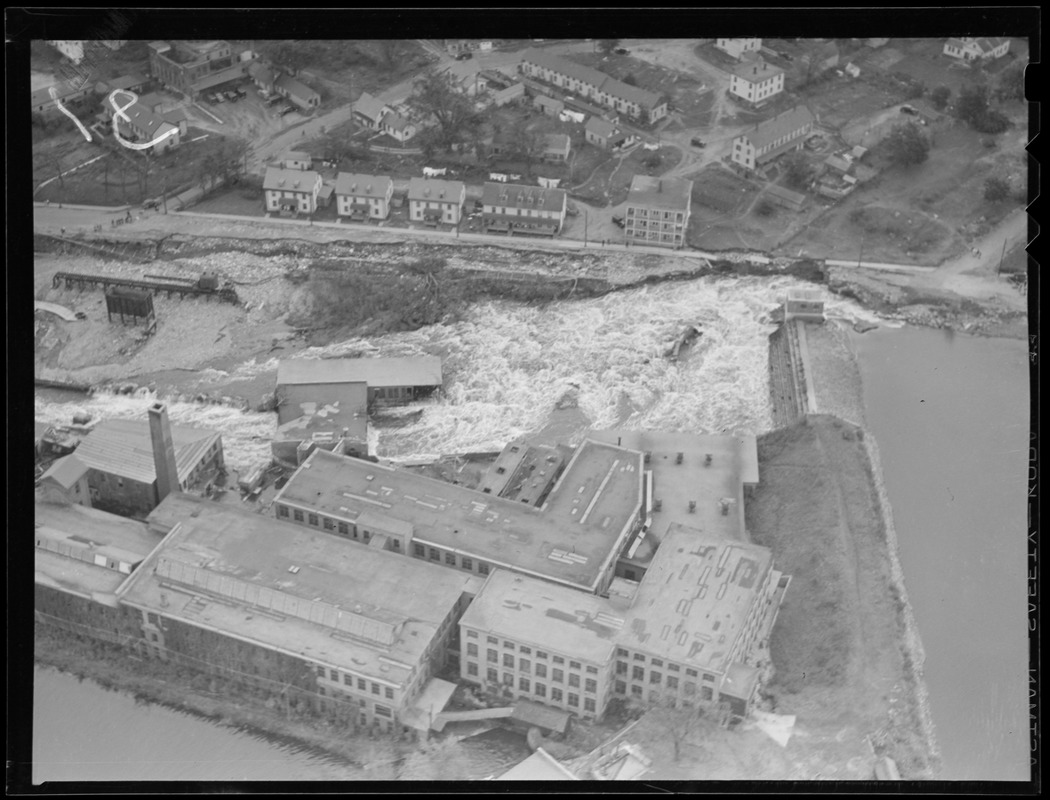 Aerial photo, flood in factory complex, Hurricane of 38