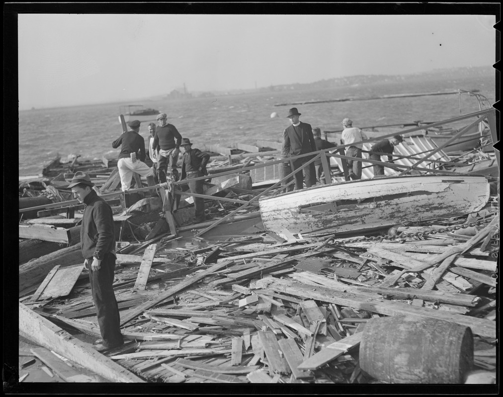 Damage along the water from the big hurricane