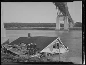 Soldier guard house blown into Cape Cod canal under Bourne Bridge, Hurricane of 38