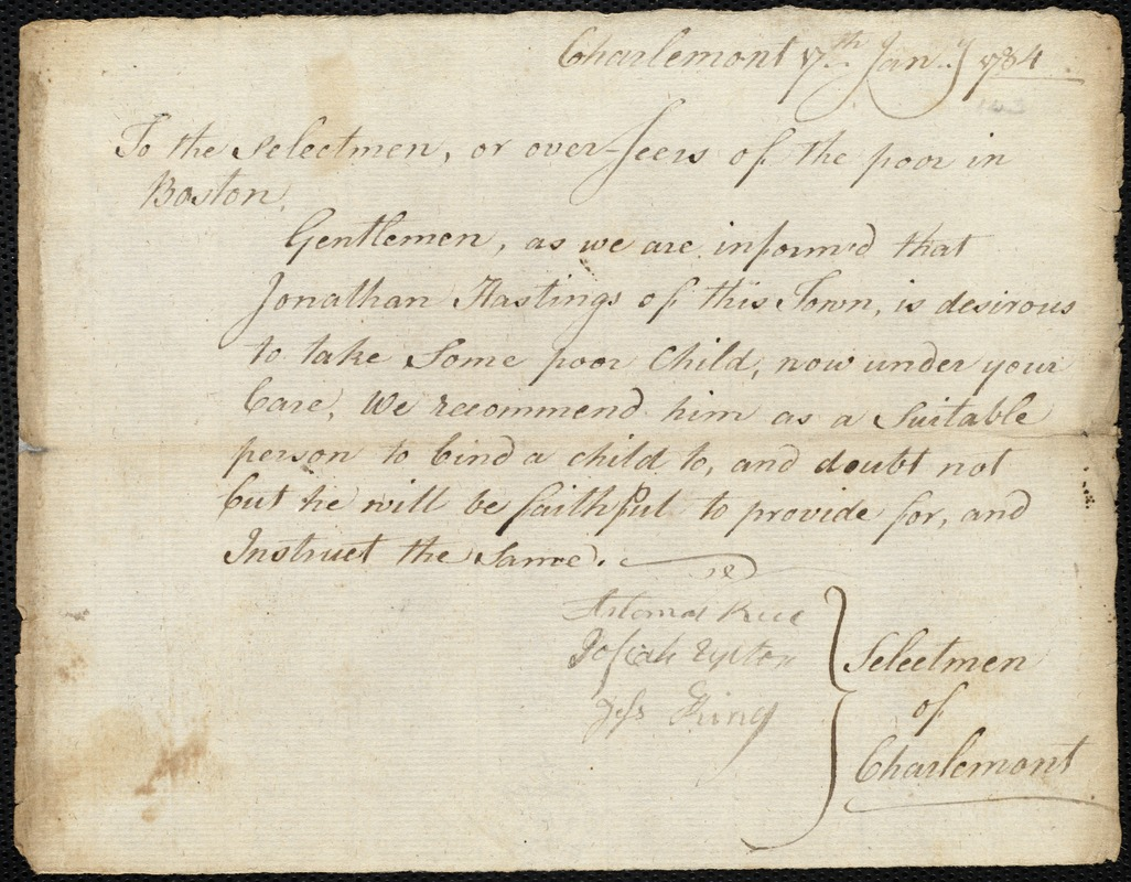 Document of indenture: Servant: Hinds, Mary. Master: Hastings, Jonathan. Town of Master: Charlemont. Selectmen of the town of Charlemont autograph document signed to the Overseers of the Poor of the town of Boston: Endorsement Certificate for Jonathan Hastings.