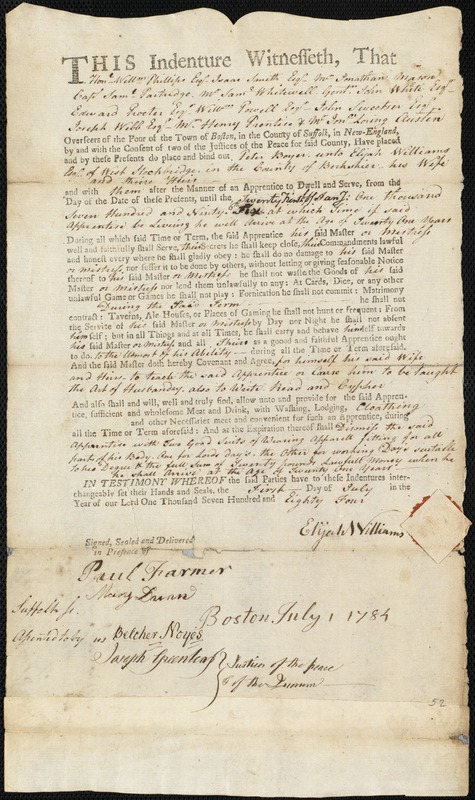 Document of indenture: Servant: Boyer, Peter. Master: Williams, Elijah. Town of Master: West Stockbridge