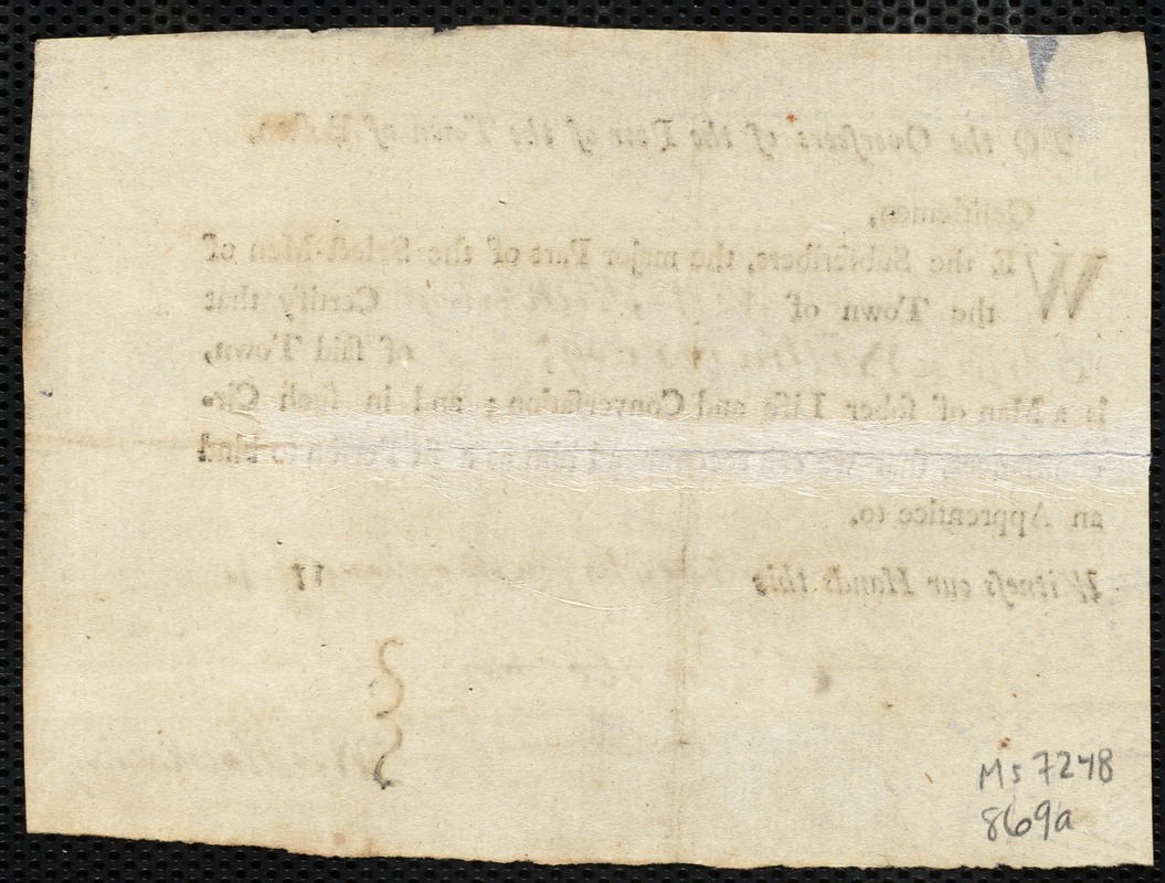 Document of indenture: Servant: Richardson, Sarah. Master: Williams, Elijah. Town of Master: West Stockbridge. Selectmen of the town of West Stockbridge autograph document signed to the Overseers of the Poor of the town of Boston: Endorsement Certificate for Elijah Williams.