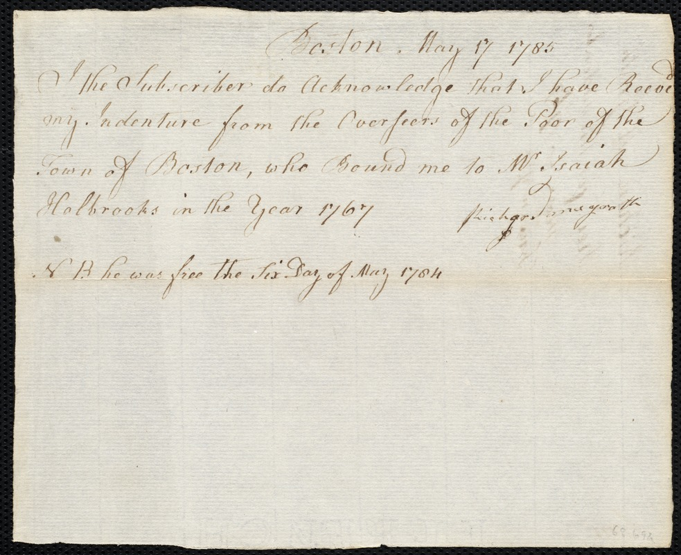 Document of indenture: Servant: McGrath, Richard. Master: Holbrooks, Isaiah. Town of Master: Boston