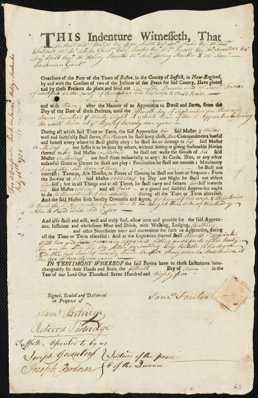 Document of indenture: Servant: Brown, Timothy. Master: Fowler, Samuel. Town of Master: Westfield
