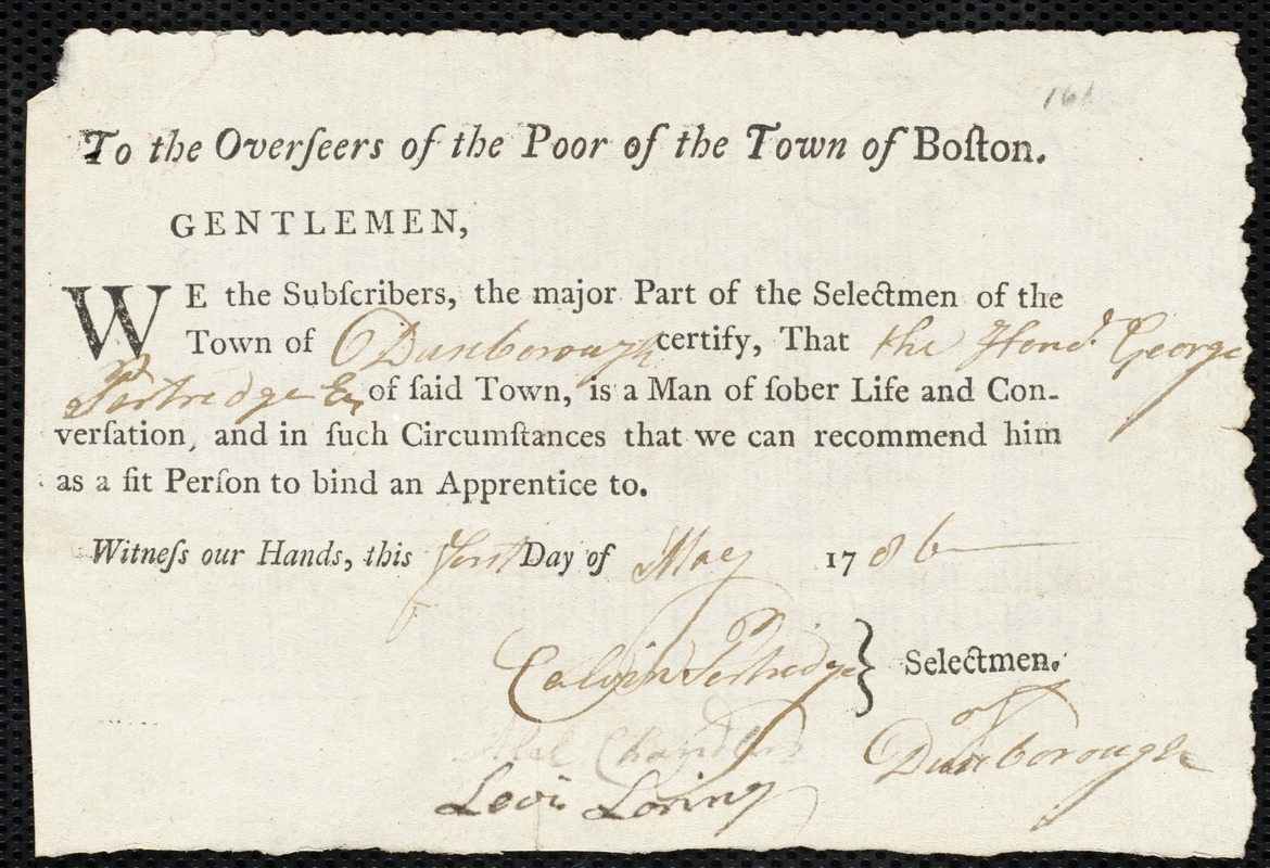 Document of indenture: Servant: Pool, Samuel. Master: Partridge, George. Town of Master: Duxborough. Selectmen of the town of Douxborough autograph document signed to the Overseers of the Poor of the town of Boston: Endorsement Certificate for George Partridge.