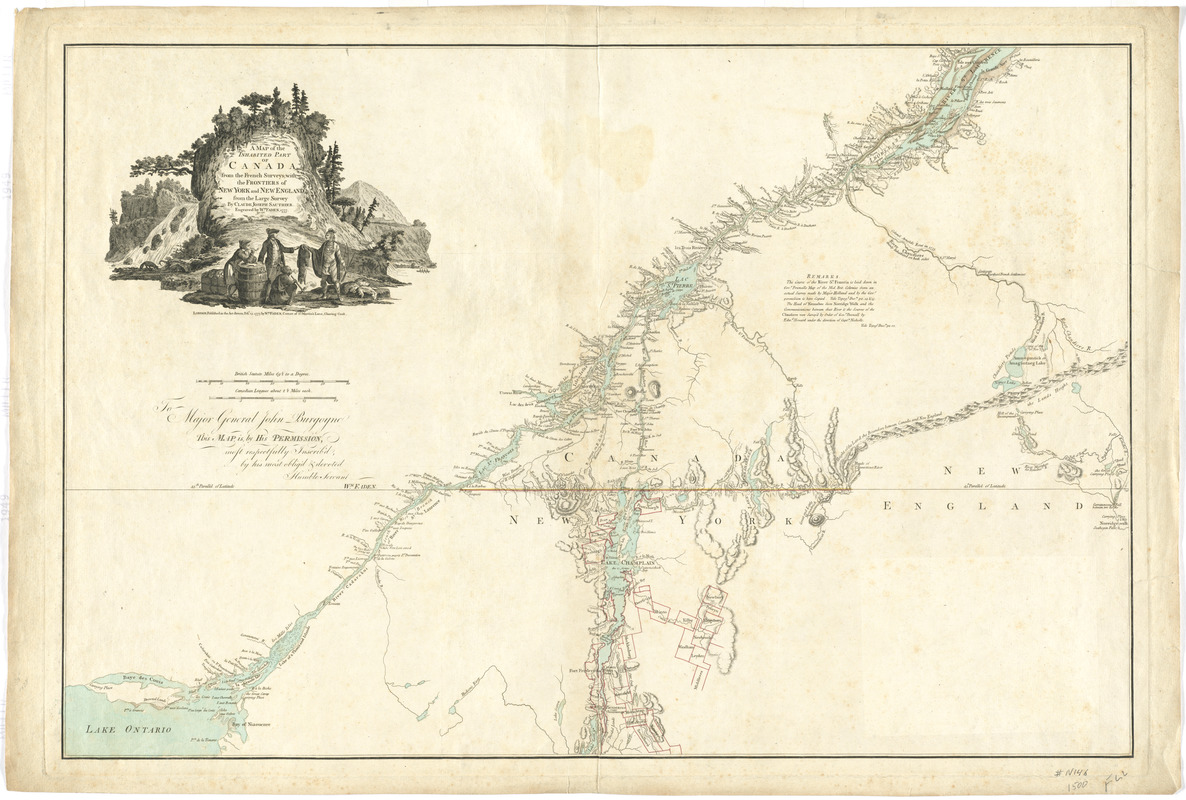 A map of the inhabited part of Canada from the French surveys