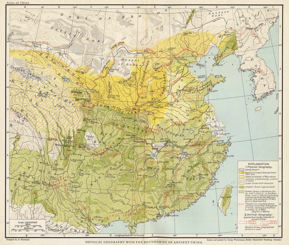 Physical geography with the boundaries of ancient China