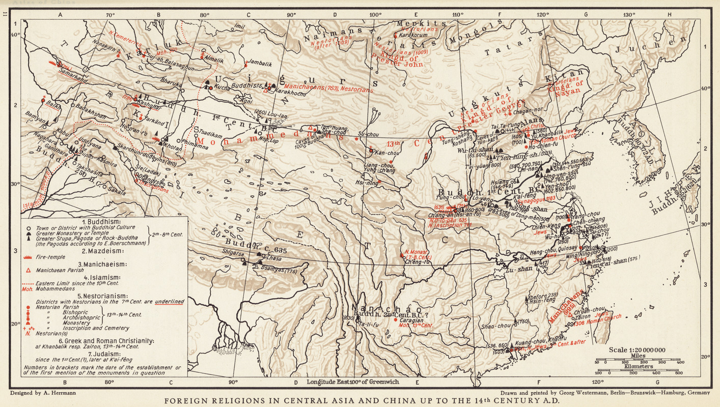 Foreign religions in Central Asia and China up to the 14th century A.D.