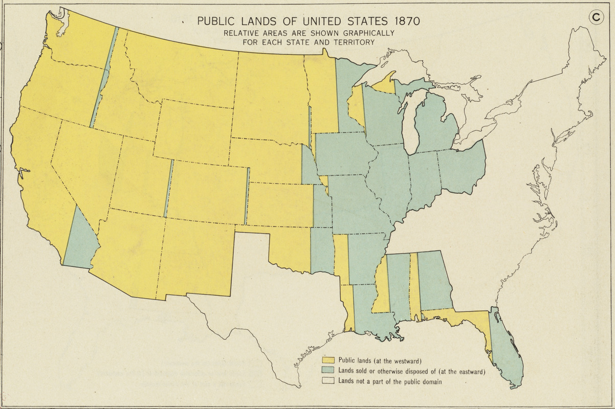 Public lands of the United States, 1870