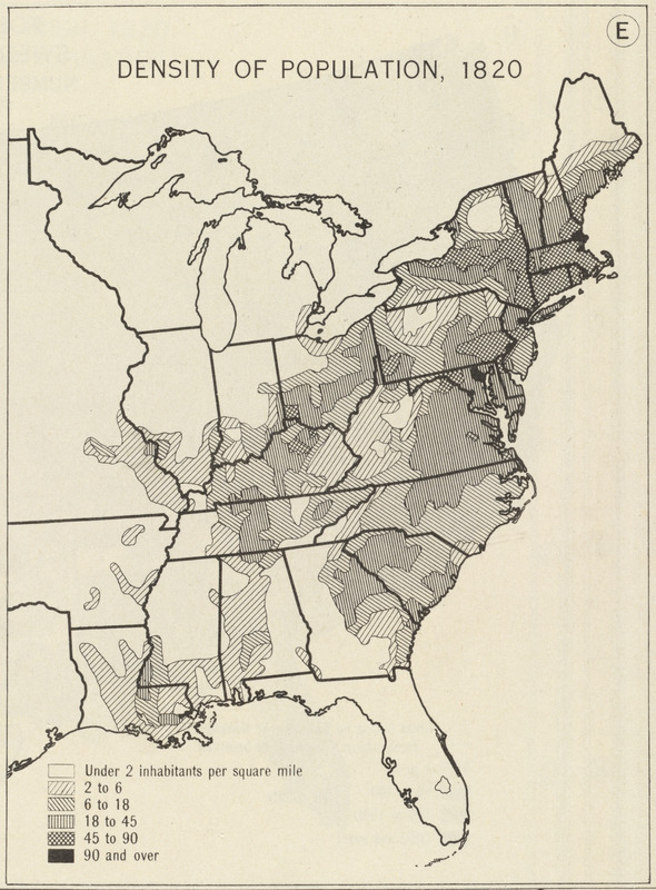 Us Map In 1820.Density Of Population 1820 Norman B Leventhal Map Education Center
