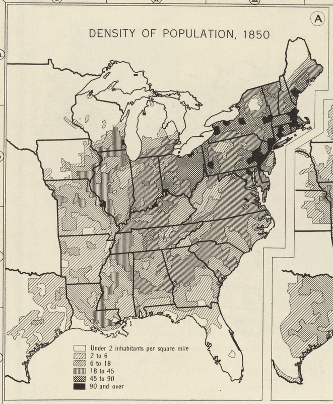 Density of population, 1850